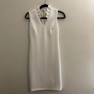 Ruffled-Collar Scuba Sheath white  Dress